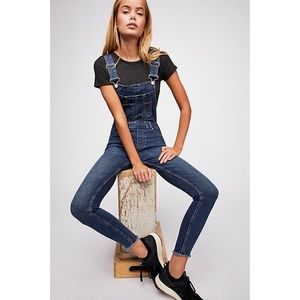 NWT Free People Lexden Raw Hem Denim Overalls 24